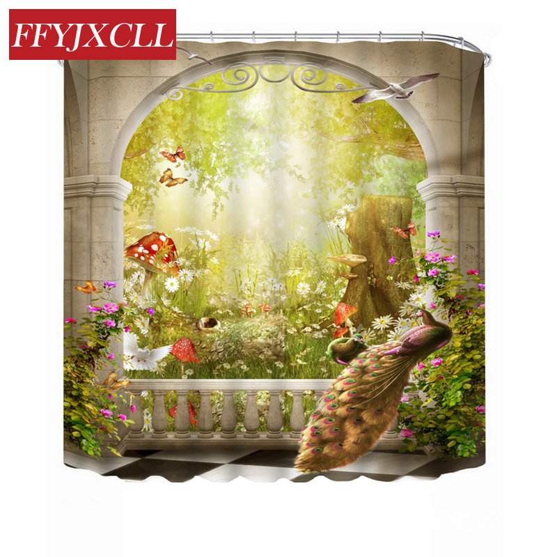 Window Forest Peacock Butterfly Creative Printing Waterproof Polyester Fabric Shower Curtain Home Bathroom Curtain