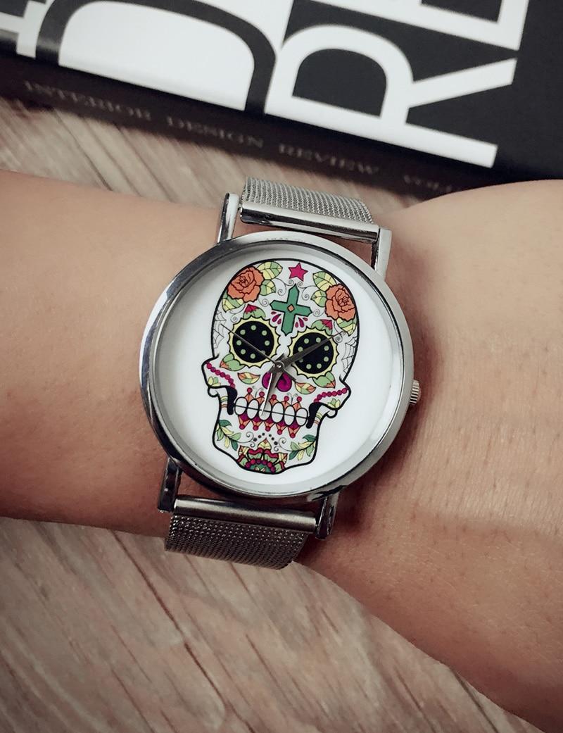 Fashion Rose Flower Women Watches Skull Watches For Women Dress Watches Golden Stainless Steel Mesh Belt