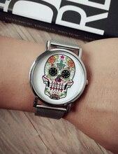 Moda Flor Color de Rosa Relojes de Las Mujeres/Del Cráneo Relojes Vestido de Las Mujeres Relojes de Oro Relojes de Cuarzo Correa de Acero Inoxidable de Malla