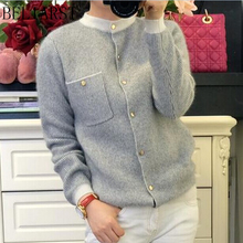 2019 Spring New Women Striped Cashmere Cardigans Korean Round Neck Knit Sweater Coat ThicKened Short Paragraph