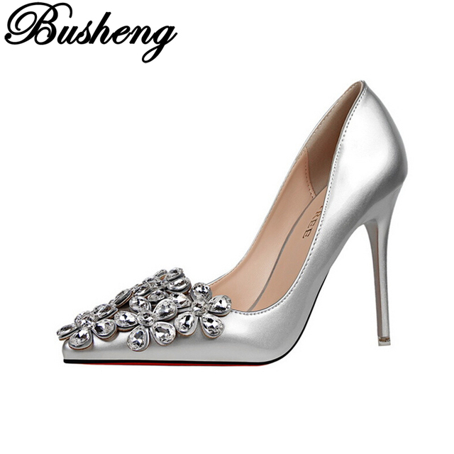 Fashion Patent Leather Bridal shoes Women Pumps Pointed Toe High Heels Shoes Woman Rhinestone Wedding Party Women Shoes