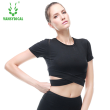 Women Yoga Top Shirts short Sleeve Gym Fitness Clothing Shirt Female Sports Tops Sport