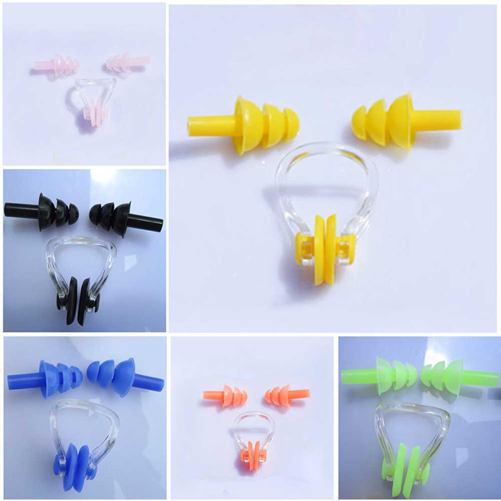 1 комплект, мягкий силикагель для плавания, зажим для носа и ушей, водонепроницаемые Нескользящие затычки для ушей, костюм, носовые заторы, оборудование для взрослых детей