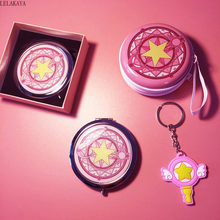 Card Captor Sakura Cartoon Girls Travel Make Up Mirror Portable Coin Saving Box Phone Holder Anime Action Figure Printed Gift(China)