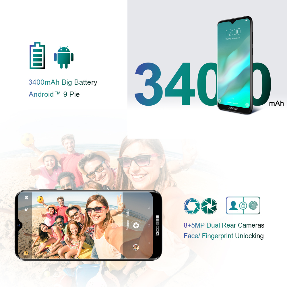 Image 3 - DOOGEE Y8 Y 8 Android 9.0 Cellphone FDD LTE 6.1 Inch Smartphone MTK6739 Quad Core 3GB RAM 32GB ROM 3400mAh Mobile Phone Face ID-in Cellphones from Cellphones & Telecommunications