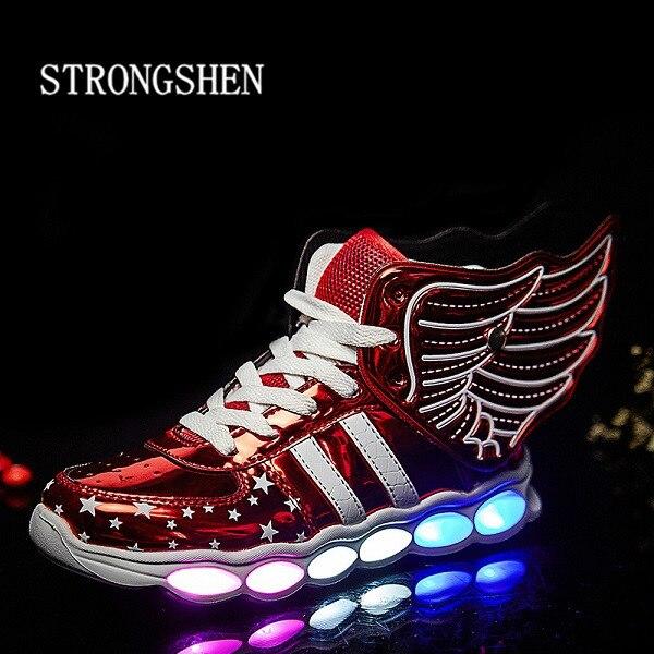 STRONGSHEN 2018 nuevo 25-37 tamaño/USB carga ala Led niños zapatos con luz niños Casual niños zapatillas deportivas brillantes zapatos