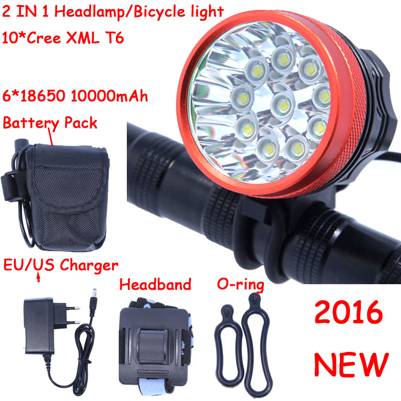 2016 New 18000 Lumens 10 X CREE XM-L T6 LED Headlamp Front Bike Bicycle Light Cycling + 10000mAh 6*18650 Battery Pack + Charger ultrafire 860lm 3 mode white bicycle headlamp w cree xm l t6 red black 4 x 18650