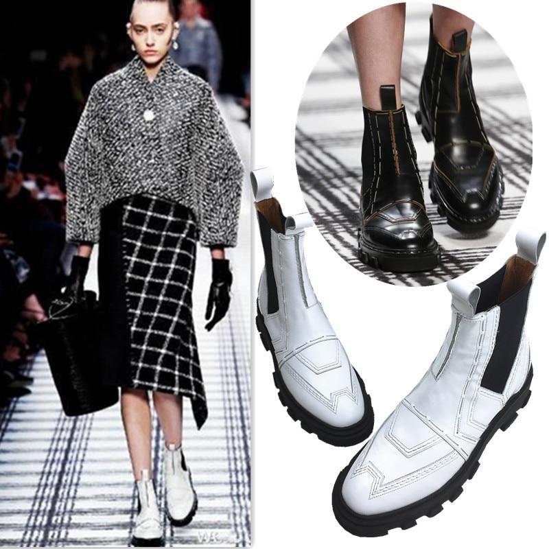 где купить Brand Designer Women Shoes Patent Leather Woman Ankle Boots Brogue Shoes Slip On Ladies Boots For Women Boots Famous Super Stars по лучшей цене