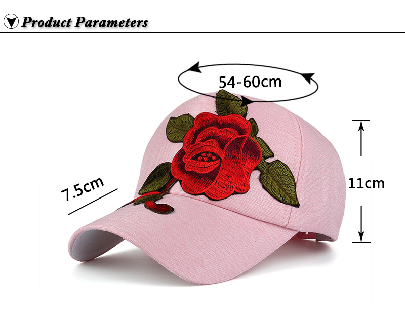 Large Flower Embroidered Snapback Cap - Product Parameters