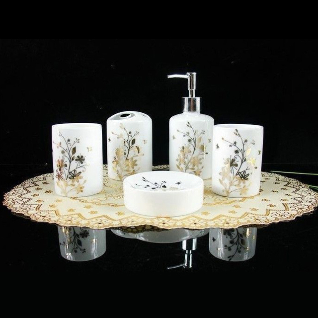 High Quality Bathroom Set Gold Leaf Ceramic Five Piece Accessories Supplies