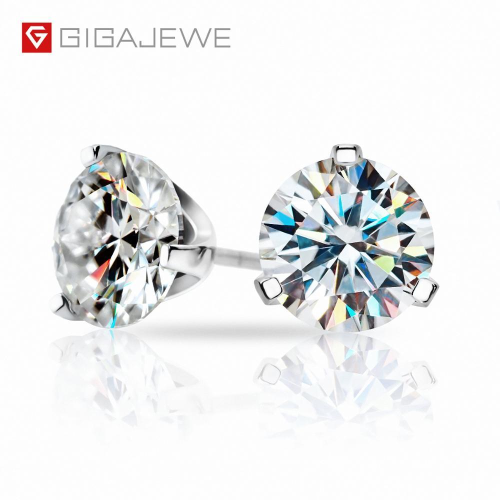 Gigajewe 총 3ct ef vvs1 다이아몬드 테스트 통과 moissanite 18 k 화이트 골드 도금 925 실버 귀걸이 쥬얼리 여자 여자 친구 선물-에서귀걸이부터 쥬얼리 및 액세서리 의  그룹 1