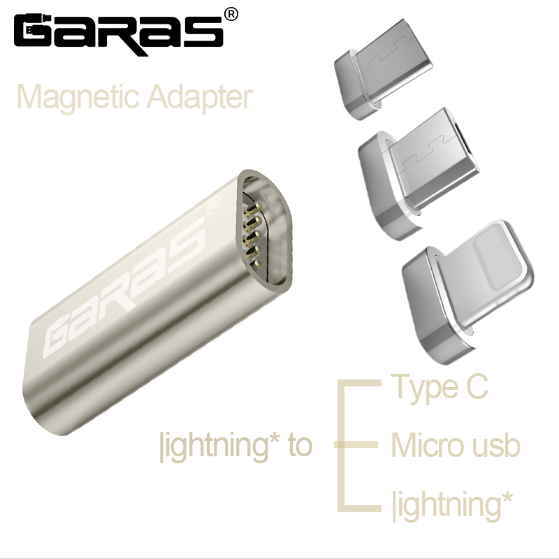 GARAS For Iphone Adapter To Type C/Micro USB Magnetic Adapter For IPhone/Android 3in1 Data Cable Converter To Micro USB/USB C