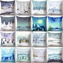 Hongbo Winter Snow Scene Pillow Cover 45*45cm Cushion Covers Living Room Home Decoration Pillow Case Sofa Square Pillowcase цены