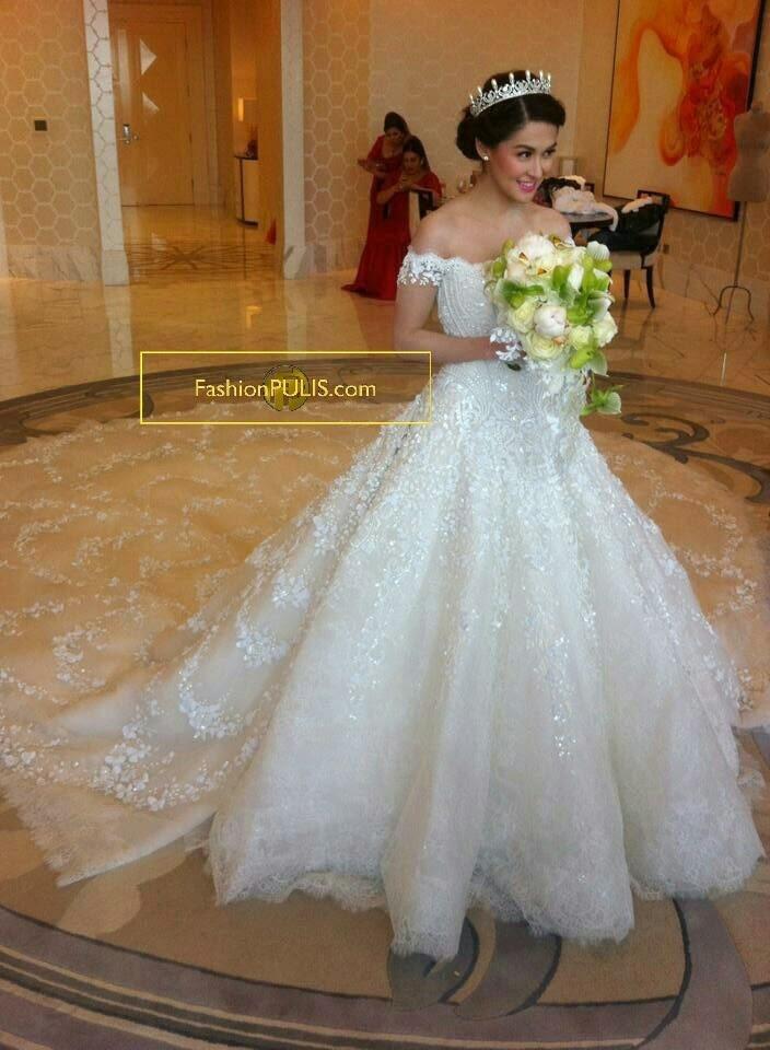 Aliexpress.com : Buy Luxury Wedding Dresses long Tail A Line V ...