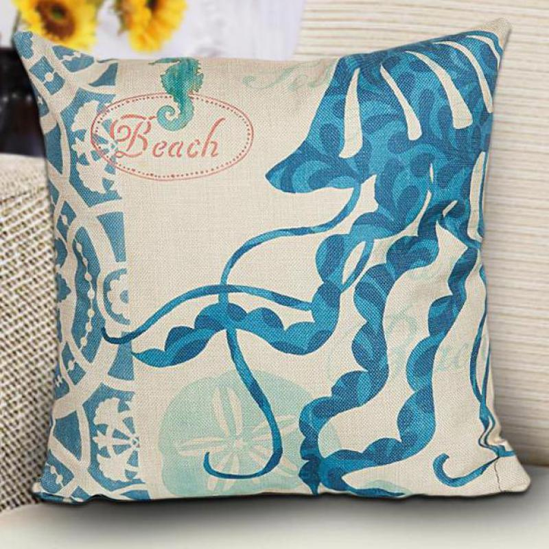 Hand Painted Marine Coral Starfish Seahorse Conch Octopus Decorative Linen  Throw Pillow Cushion For Home Accessories In Cushion From Home U0026 Garden On  ...
