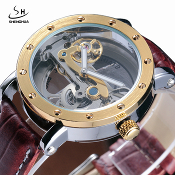 SHENHUA Steampunk Transparent Skeleton Automatic Wristwatch Genuine Leather Strap Diamond Mens Dress Mechanical Watches Gift