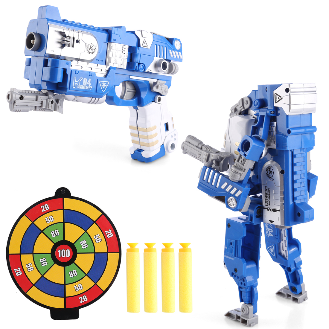 KaiLi Alloy Soft Air Blaster Educational Toy - Blue Deformation Robot Type
