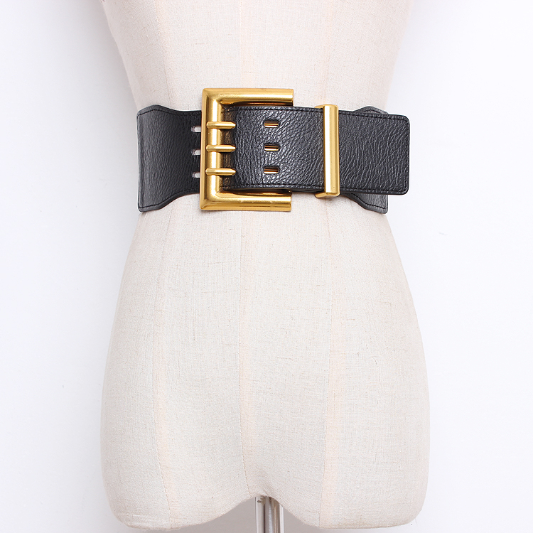 Women's Runway Fashion Elastic Pu Leather Buckle Cummerbunds Female Dress Corsets Waistband Belts Decoration Wide Belt R1318
