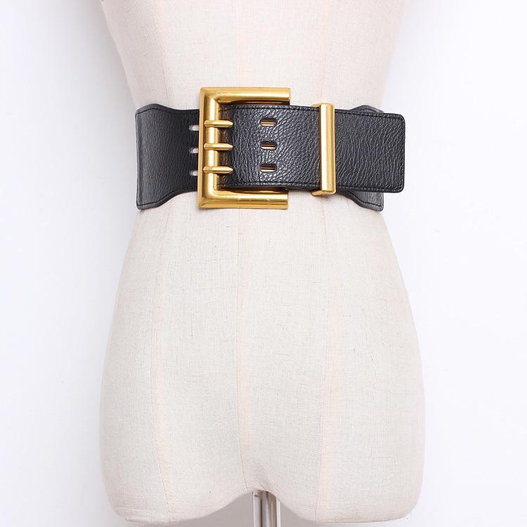 Women's Runway Fashion Elastic Pu Leather Buckle Cummerbunds Female Dress Corsets Waistband Belts Decoration Wide Belt R1318