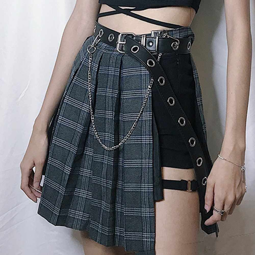 318051db56 Gótico cuadros línea Mini faldas mujeres 2019 nuevo asimétrica Patchwork  vendaje Club Punk Sexy Cool de