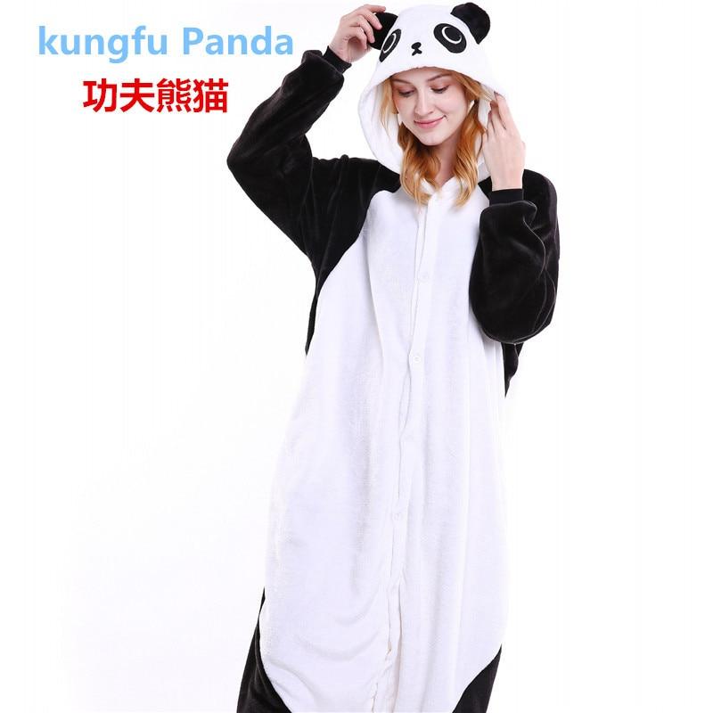 New Autumn Winter Christmas Pajamas Sets Panda Cartoon Sleepwear Adults Kids Pajamas Panda Flannel Animal Pajamas Sets B-5426