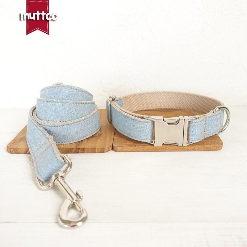 MUTTCO retailing self-designed dog accessory THE LIGHT JEAN handmade collar wathet blue 5 sizes dog collar and leash set UDC034