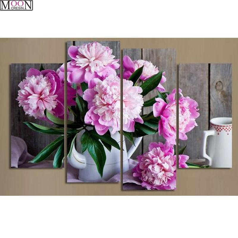 5D DIY Diy Diamond Painting Cross Stitch Bouquet Flowers Gifts Diamond Mosaic Triptych DIY Diamond Embroider