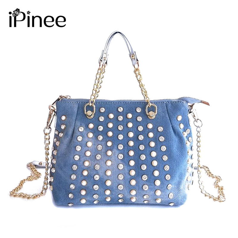 iPinee Luxury Diamond And Pearl Design Women Handbag New Fashion Messenger Bag Chain Denim Bags Female Shoulder Bag