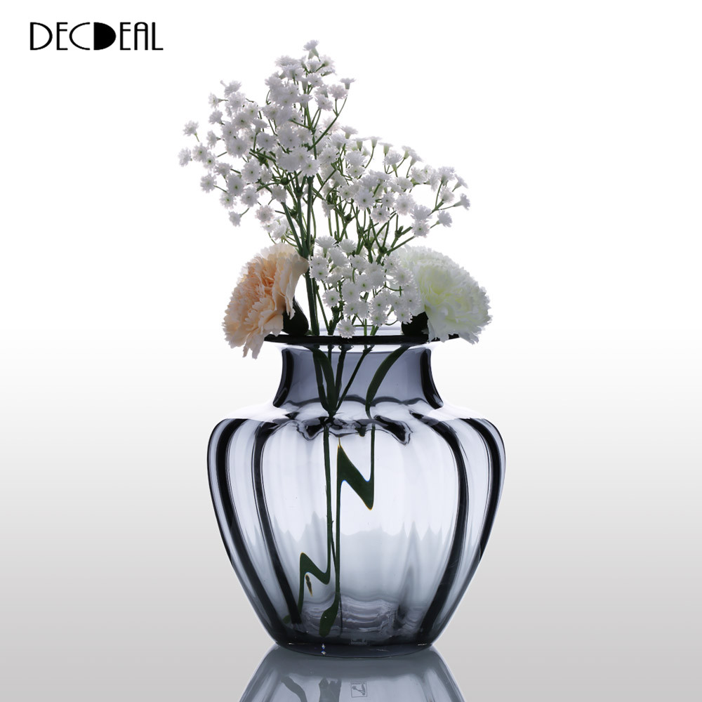 Glass Vase Modern Design Hand Blown Jar Shaped Glass Vase Ribbed Design Vase For Home Decoration