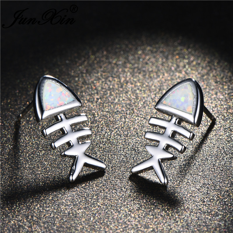 JUNXIN Cute Fish Bone Studded Earrings For Women Silver Color Triangle Blue White Fire Opal Stud Earrings Girls