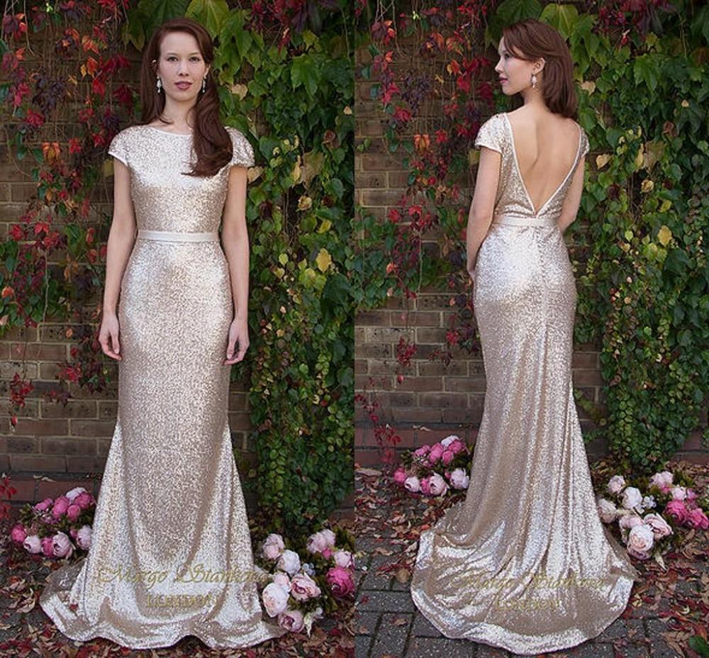 Gold Bridesmaid Dresses: Bling Gold Sequin Bridesmaid Dresses Elegant Sleeve Prom