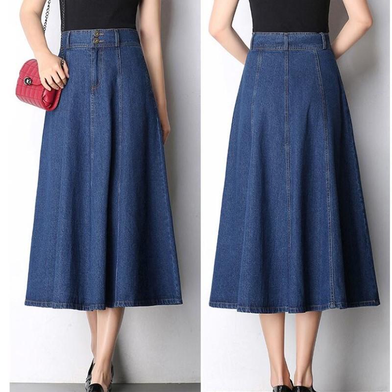 2017 autumn and winter new denim skirt large long paragraph a word long skirts high waist was thin big M-XXXXL