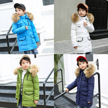 2019 New Children Winter Duck Down Jacket for Girls Thickening Warm Down Coat for Boys Long Big Fur Hooded Outerwear Coats стоимость