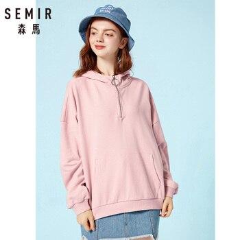 SEMIR Women Oversized Hooded Sweatshirt with Zip Pullover Hoodie with Kangaroo Pocket Lined Drawstring Hood Ribbed Cuff and Hem