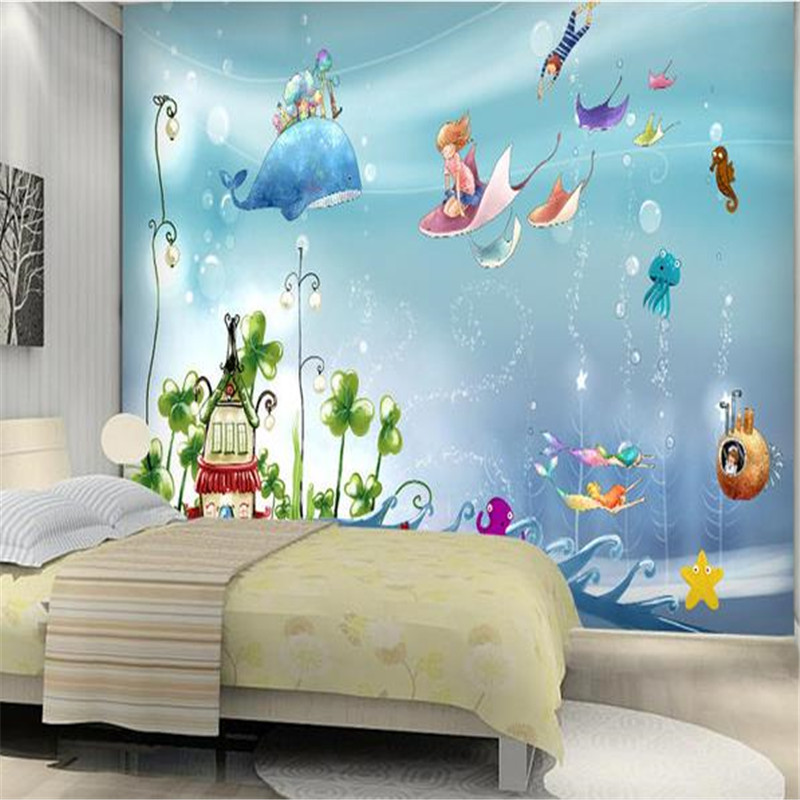 3D Custom Murals Cartoon Pattern Photo Wallpapers Kids Room Leaf Wall Papers Underwater World Dolphin for Living Room Home Decor stylish dolphin pattern 3d wall sticker for home decor