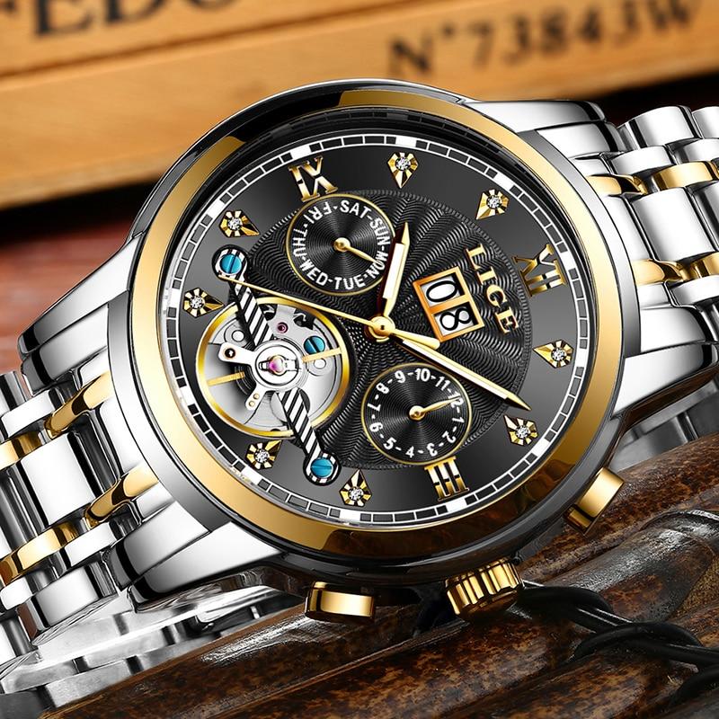 En este momento marcas hombres automático Mecánico Tourbillon reloj de lujo de moda de acero inoxidable relojes deportivos para hombre reloj Relogio Masculino-in Relojes mecánicos from Relojes de pulsera    2
