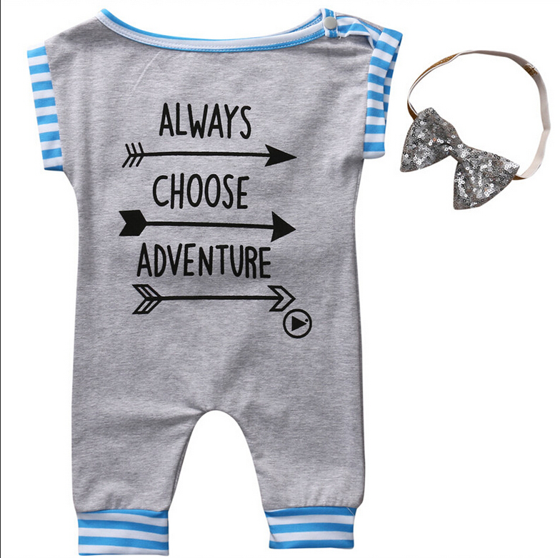 2017 Summer Cute Newborn Baby Girl Clothes Sleeveless Arrow Baby Romper Cotton Clothes+Headband Sunsuit Outfits