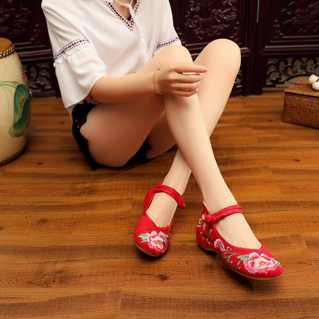 Women Canvas Embroidered Flat Shoes