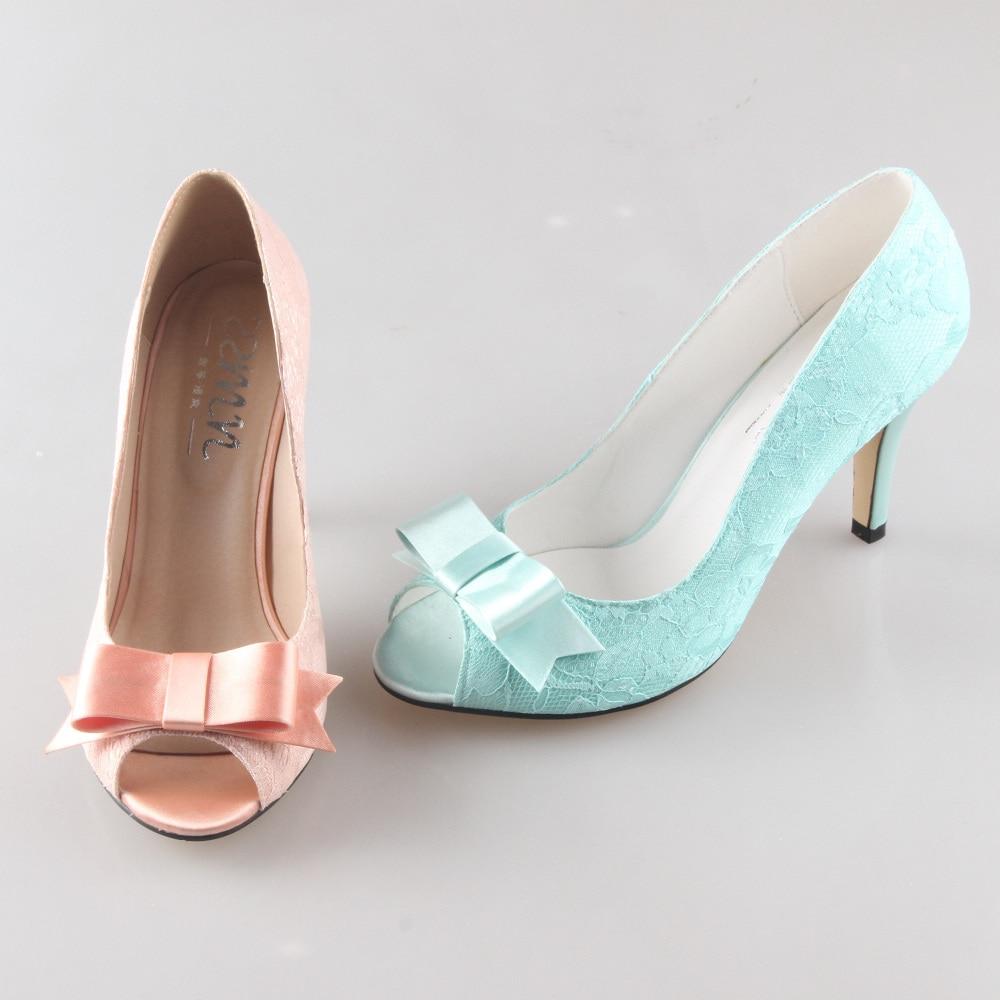 Creativesugar Handmade peachy nude mint green lace bow heels pumps ...