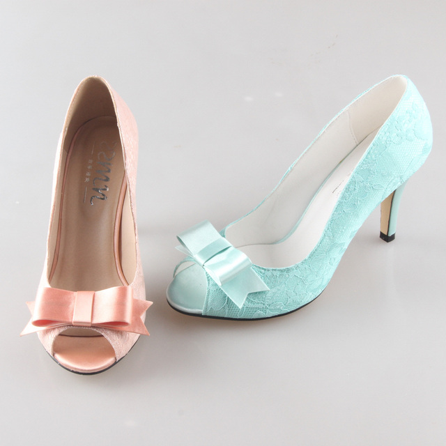 Creativesugar Handmade Peachy Mint Green Lace Bow Heels Pumps Bridal Wedding Party Prom Evening Dress