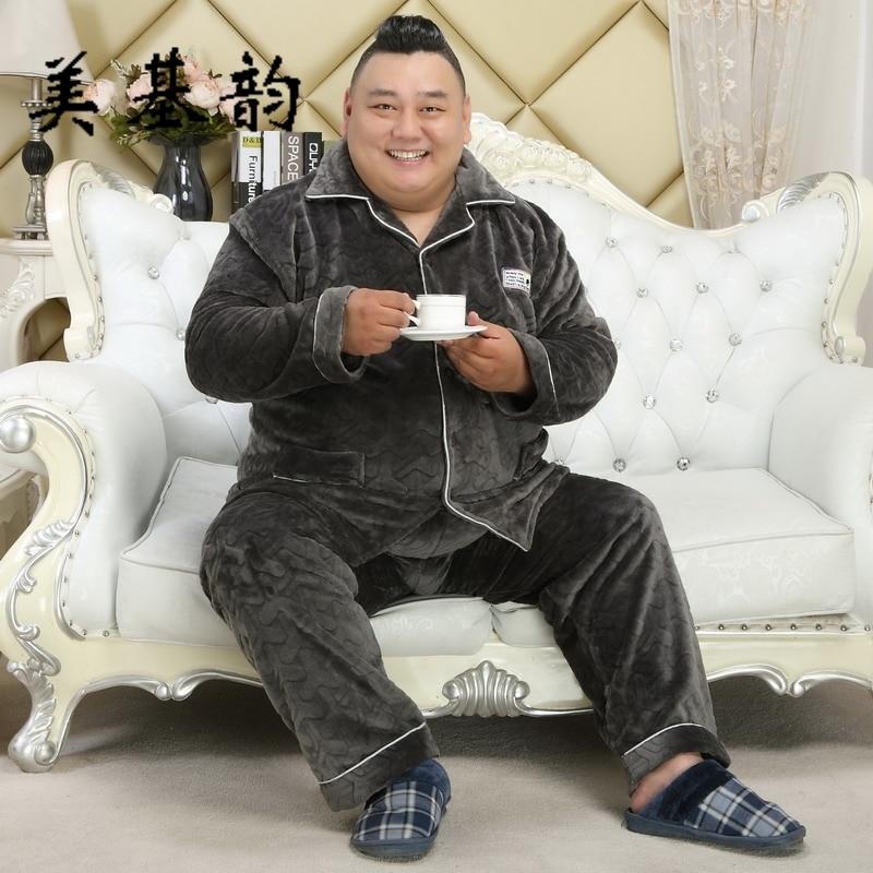 Free Shipping Men 2018 Winter Plus Size Pajama Sets Male Flanel Extra Large Size Sleepwear Set