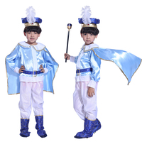 Halloween Christmas Children Boy King Handsome Prince Blue Costume Masquerade Costumes Performing