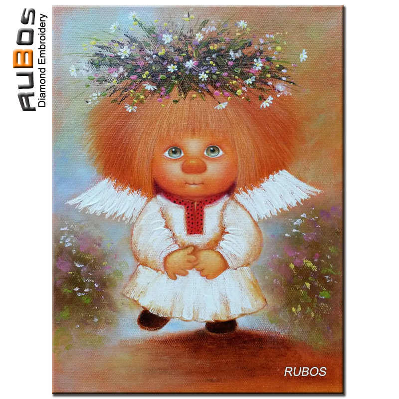RUBOS Russia cartoon angel flower DIY 5D diamond embroidery diamond painting diamond mosaic mazayka picture rhinestone kid craft