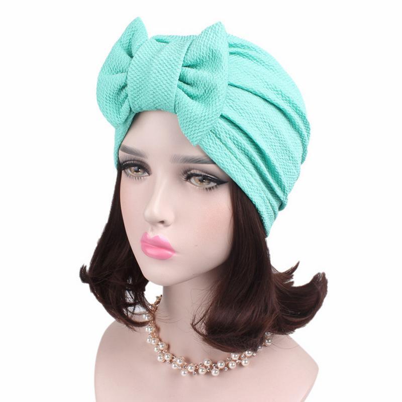 Индийский Стиль платок покрытия головы шляпу шапка одноцветное Цвет бантом Стиль эукомис венечной узоры мусульманская шляпа