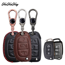 KUKAKEY 3 Button Leather Car Key Case Cover For Hyundai I10 I20 IX25 IX35 IX45 Elantra Accent Protector Shell Styling