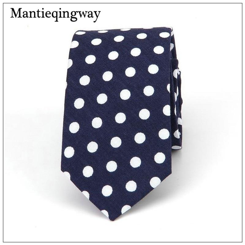 Mantieqingway 6cm Cotton Dots Tie For Men Polka Dots Tie For Wedding Necktie Business Gravatas Slim Collar Tie Neckwear Ties