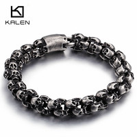 Kalen New Punk Brushed Skull Charm Bracelets For Men Stainless Steel Gothic Matte Black Skeleton Bracelet