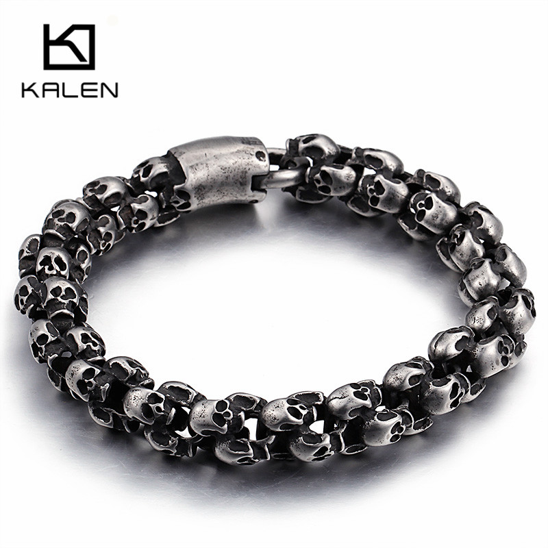 Kalen New Punk Brushed Skull Charm Bracelets For Men Stainless Steel Gothic Matte Black Skeleton Bracelet Male Pub Jewelry 2017 bobo cover new cross vintage punk stainless steel animal bracelets men charm anchor bracelets