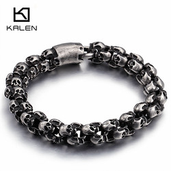 Kalen New Punk Brushed Skull Charm Bracelets For Men Stainless Steel Gothic Matte Black Skeleton Bracelet Male Pub Jewelry 2017