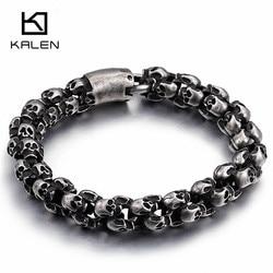 Kalen New Punk Brushed Skull Charm Bracelets For Men Stainless Steel Gothic Matte Black Skeleton Bracelet Male Pub Jewelry 2017